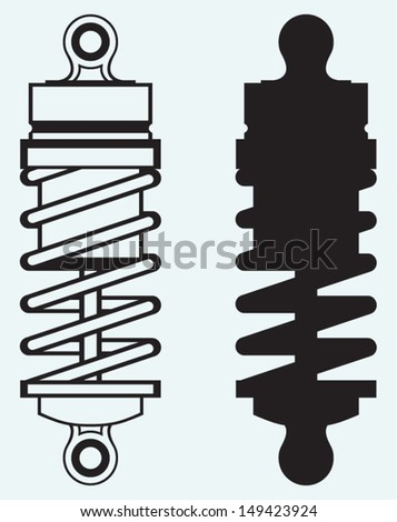 Shock absorber isolated on blue background - stock vector