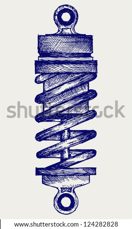 Shock absorbers. Doodle style - stock vector