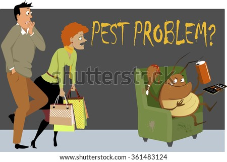 Shocked couple caught a giant cockroach sitting in a chair in their house, eating, drinking and watching TV, as a metaphor for a pest problem, EPS 8 vector illustration - stock vector