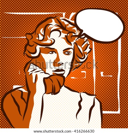 Shocked Phone Call, Vintage Sketch, Hand Drawn Artwork