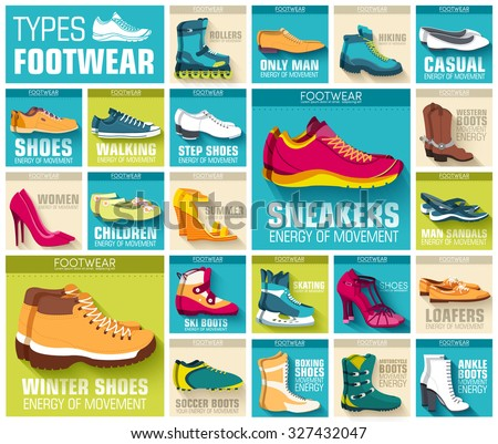 Shoe icons vector logo set