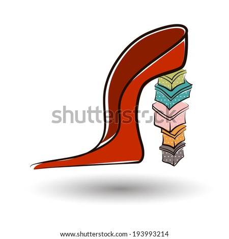 shoe on a high heel with boxes, vector illistration - stock vector