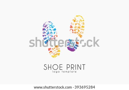 Shoe print logo. Color shoe print. Creative logo. - stock vector