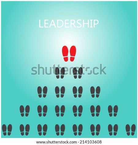 Shoe prints with leadership concept, black vector trail foot, shoes silhouette.Vector illustration - stock vector
