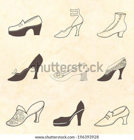 Shoe set on a spotted background. Retro pattern. - stock vector