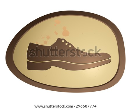 Shoe Sign on a Glossy Oval Shape, Vector Illustration.  - stock vector