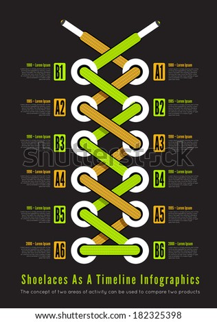 Shoelace as a timeline infographic illustration. Vector - stock vector
