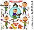 Shoemaker profession flat characters and icons with  different tools. - stock photo