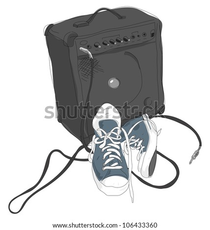 Shoes and Amplifier - stock vector