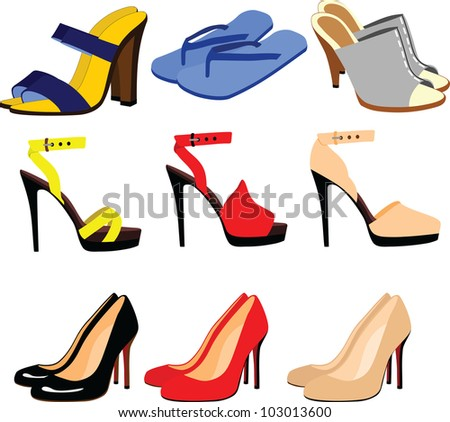 shoes and sandals - stock vector
