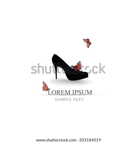 Shoes Background High Heels Fashion Womens Shoe With Butterfly And Copy Space Wallpaper
