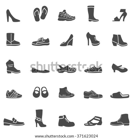 Shoes black icons set. Vector - stock vector
