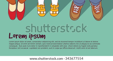 Shoes family parents with child. Family foots standing in line. Color vector illustration. EPS 8 - stock vector