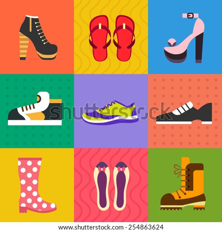 Shoes for all occasions: shoes, sneakers, boots. Vector flat icon set and illustrations - stock vector