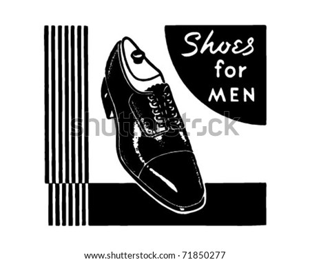 Shoes For Men - Retro Ad Art Banner