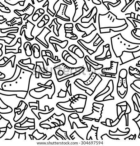 Shoes Hand Drawn Outline Icon Pattern  - stock vector