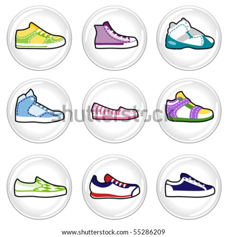 shoes icons - stock vector