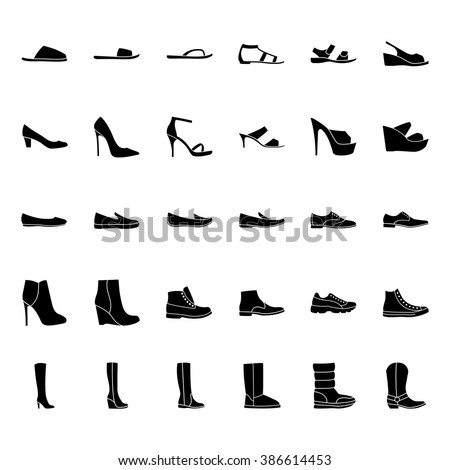 Shoes icons. Set of men's and women's shoes icons, black silhouette