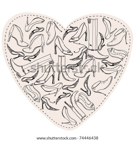 Shoes in the form of heart sketch - stock vector