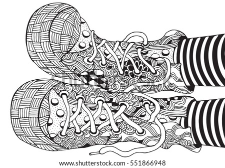 Shoes Zentangle Style Handdrawn Sneakers Pattern Stock Vector