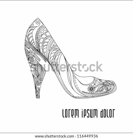 Shoes on a high heel decorated