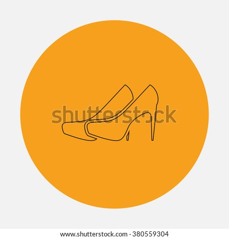 shoes Outline vector icon on orange circle. Flat line symbol pictogram