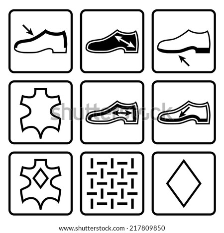 Shoes properties symbols. These icons indicate properties of footwear - stock vector