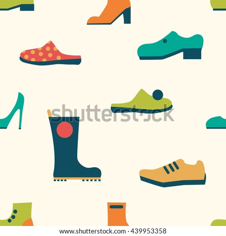 Shoes repeat pattern. Retro color. Vector trend background.