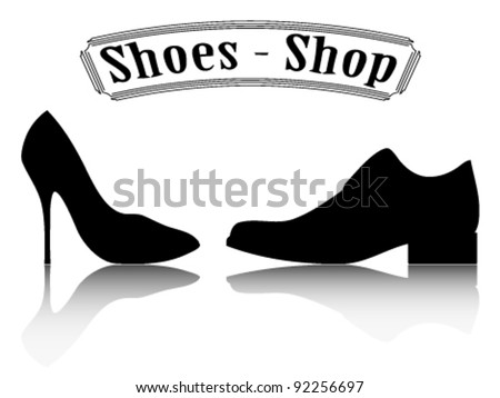 Shoes shop illustration. Male and female shoes silhouette. - stock vector