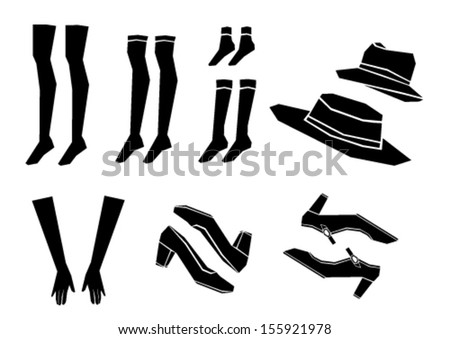 shoes, socks, hat and gloves vector - stock vector
