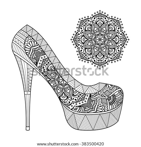Shoes with Mandala. Vintage decorative elements. Oriental pattern, vector illustration. Islam, Arabic, Indian, turkish, pakistan, chinese, ottoman motifs - stock vector