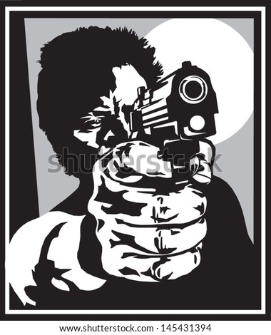 Shooter with a pistol - stock vector