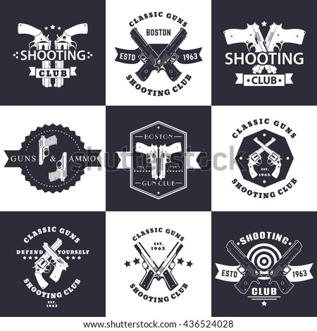 Shooting Club, Guns and Ammo vintage emblems, signs with crossed revolvers, guns, pistols, logo with handguns, vector illustration - stock vector