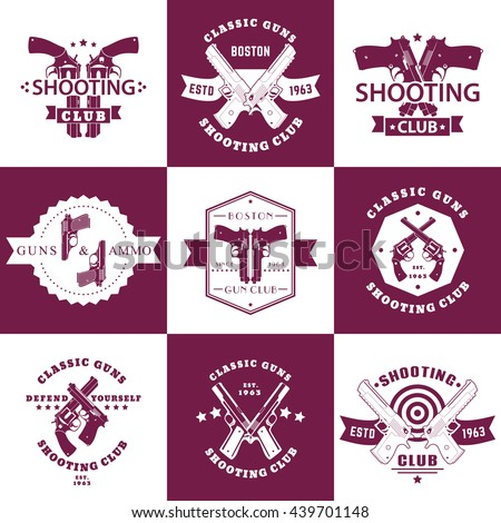 Shooting Club, Guns and Ammo vintage emblems, t-shirt prints with revolvers, pistols, logo with handguns, vector illustration - stock vector