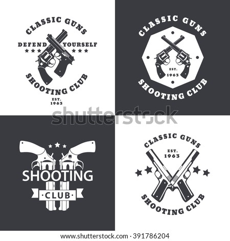 Shooting Club, vintage emblems with crossed revolvers, guns, pistols, in black and white, logo with handguns, pistols, vector  - stock vector