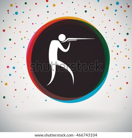 Shooting - Colorful icon and sports background