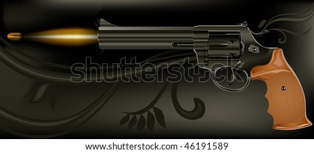 Shooting fashioned revolver on black background, vector illustration - stock vector