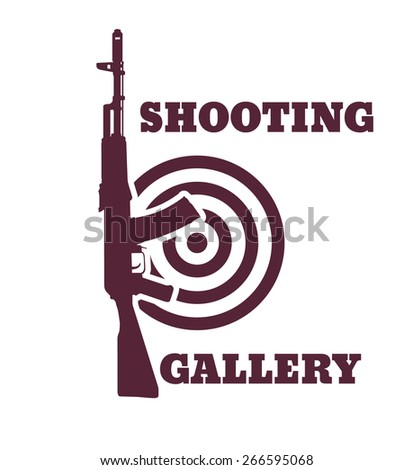 Shooting Gallery emblem with assault rifle, vector illustration, eps10, easy to edit - stock vector