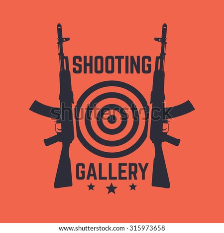 Shooting Gallery logo, emblem with assault rifle, vector illustration, eps10, easy to edit - stock vector