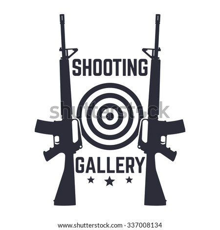 Shooting Gallery logo, sign with assault rifles over white, vector illustration - stock vector