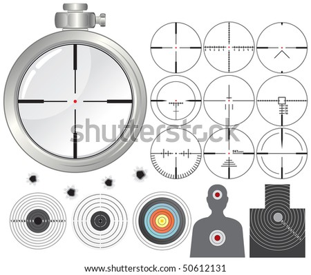 Shooting kit-targets,cross-hairs,dummies,guns sight-separated vector objects - stock vector