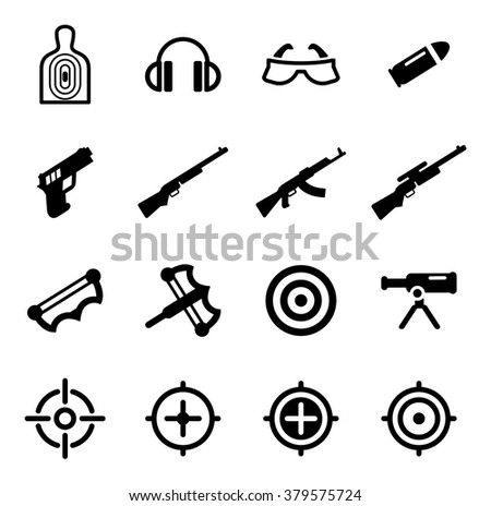 Shooting Range Icons - stock vector