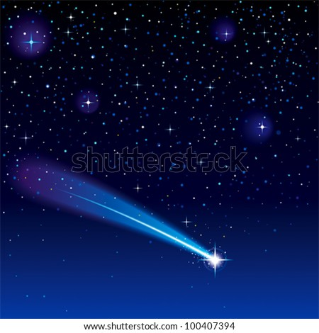 Shooting star going across a starry sky. (EPS 10) - stock vector