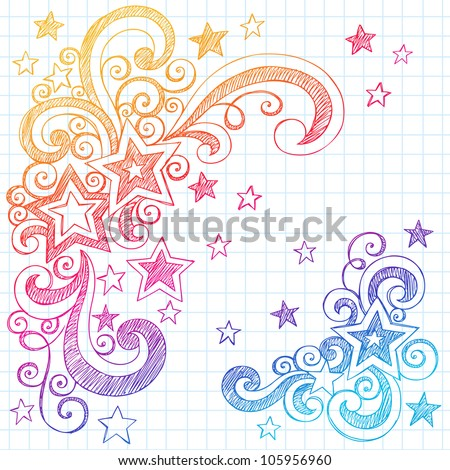 Shooting Stars and Swirls Back to School Notebook Doodles- Hand-Drawn Sketchy Vector Illustration Design Elements on Lined Sketchbook Paper Background - stock vector