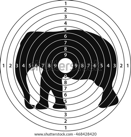 shooting target elephant for shooting range, vector illustration for print or website design