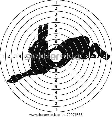 shooting target rabbit for shooting range, vector illustration for print or website design