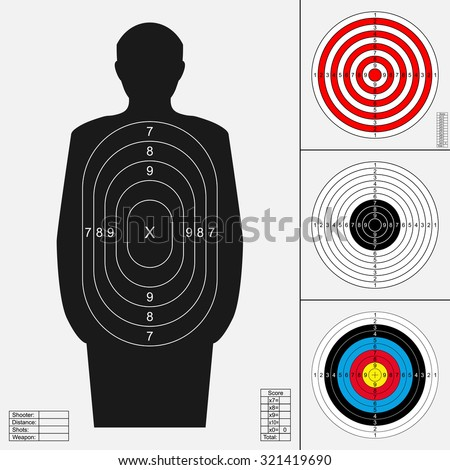 Shooting target set. Silhouette of human, archery target, darts board, range target for firearm, bow or crossbow.Templates for print. Vector illustration isolated on white background.  - stock vector