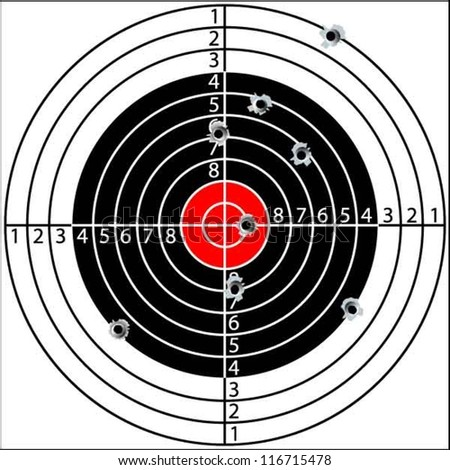 Shooting target, with holes pierced by bullets, vector - stock vector