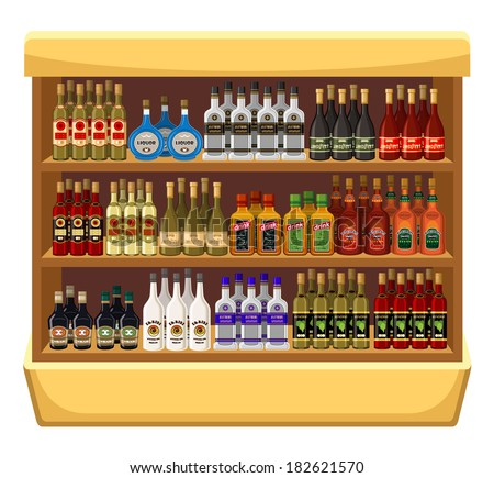 Shop alcoholic beverages. vector - stock vector