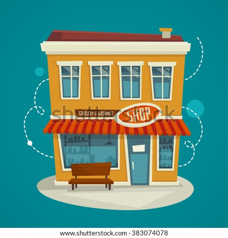Shop building front view / exterior concept / Vector cartoon illustration / store facade - stock vector